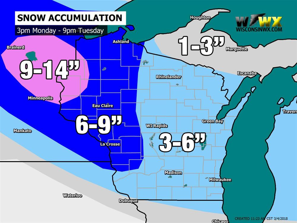 March Snow Storm Heading to Wisconsin [UPDATED] on