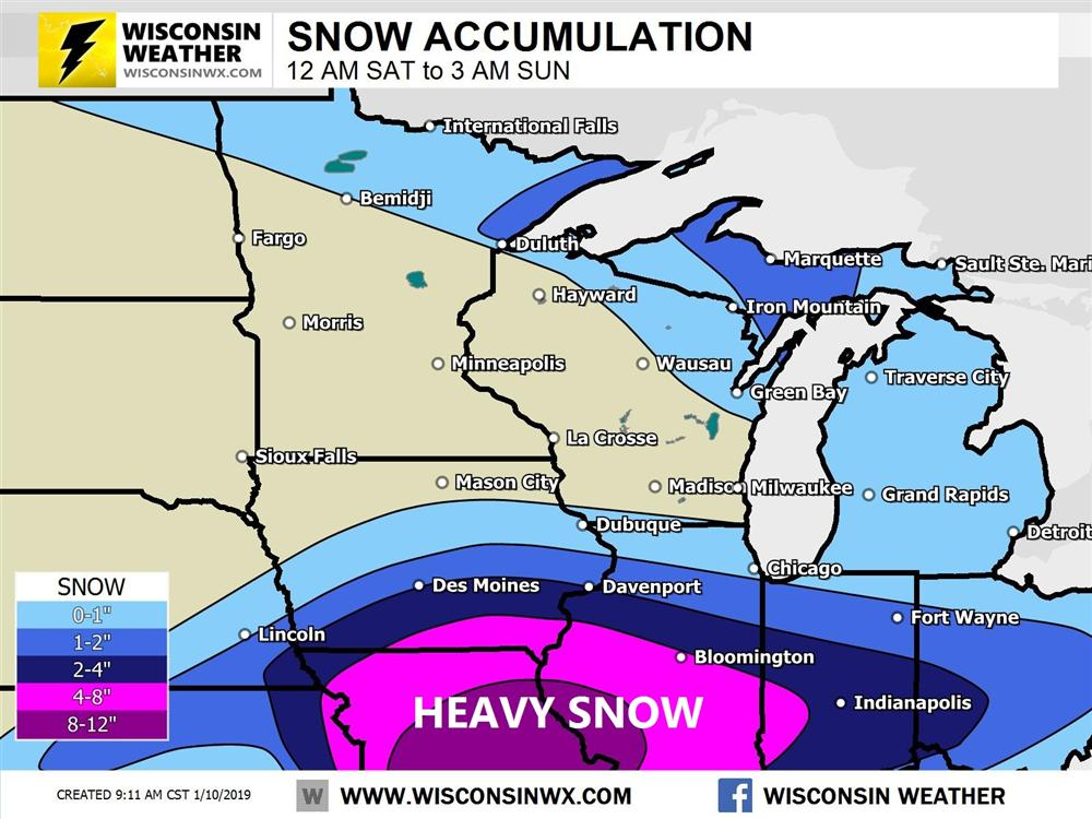 Heavy snow across the Midwest with 8-12