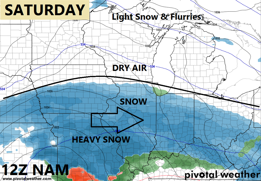 It will be a battle of dry air and snow on the northern fringe of the storm. This boundary could shift slightly.