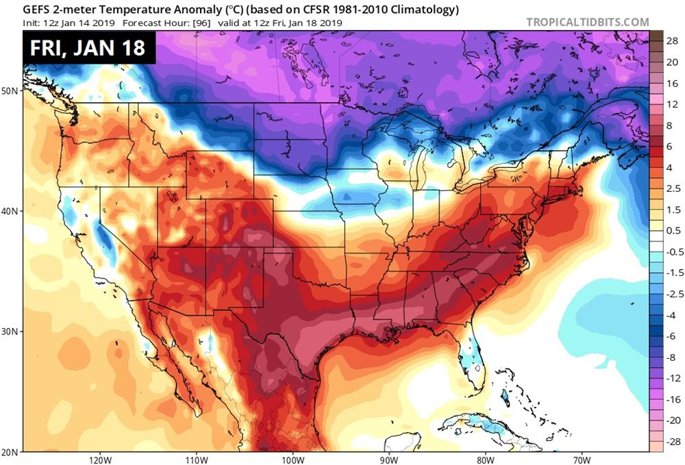 By Friday, Jan 18 an arctic high begins to push into the lower 48 states not quite reaching Wisconsin yet.