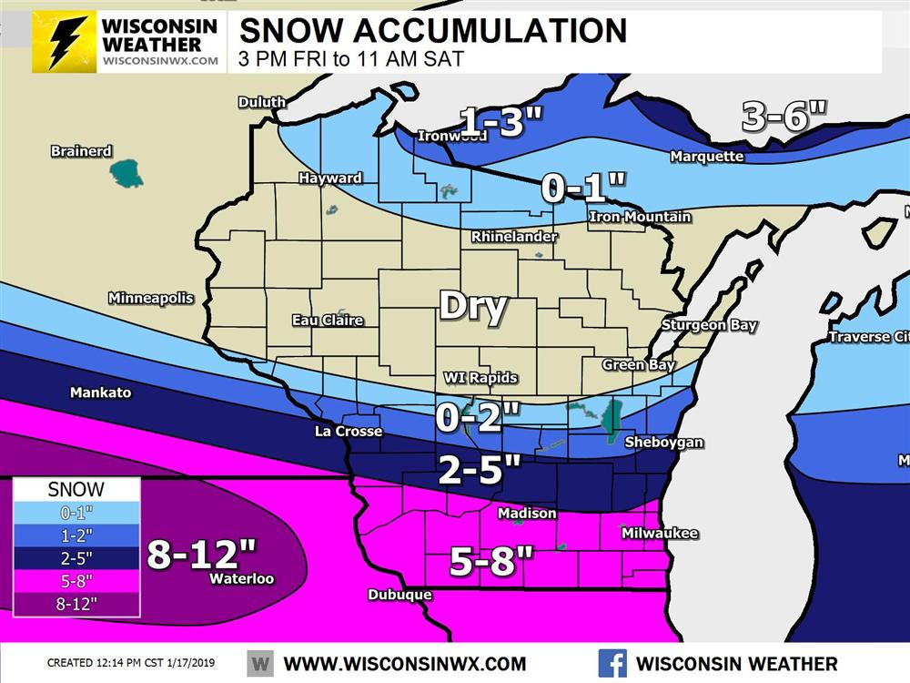 Snow accumulation map for Wisconsin Friday night into Saturday AM.