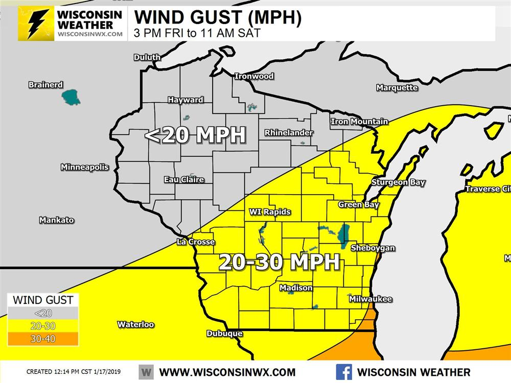 20-30MPH gusts developing Saturday across southern Wisconsin. Strongest gusts along the lakeshore.