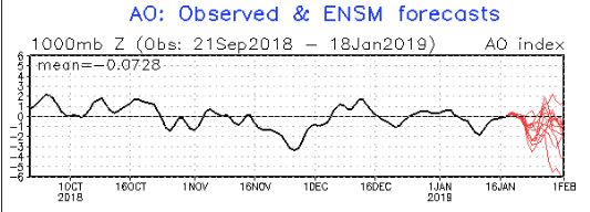 Arctic Oscillation pattern shows we are flirting at neutral levels today, heading down towards negative in the days to come. We are on a long term decreasing trend that began with the warm December.