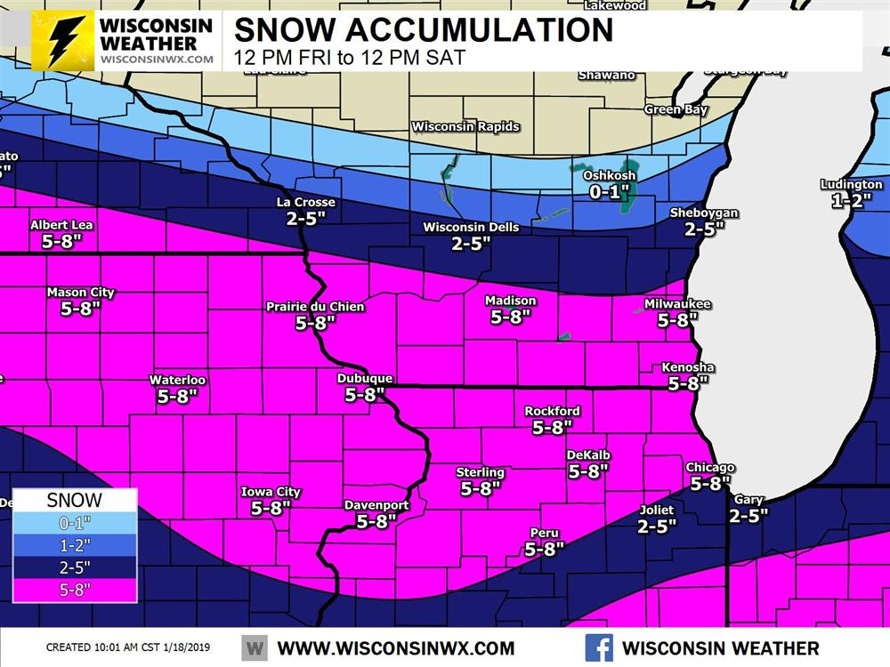 The Fri 10AM forecast snow prediction for southern Wisconsin and northern Illinois. I did not spend much time on Illinois so hope it works out!