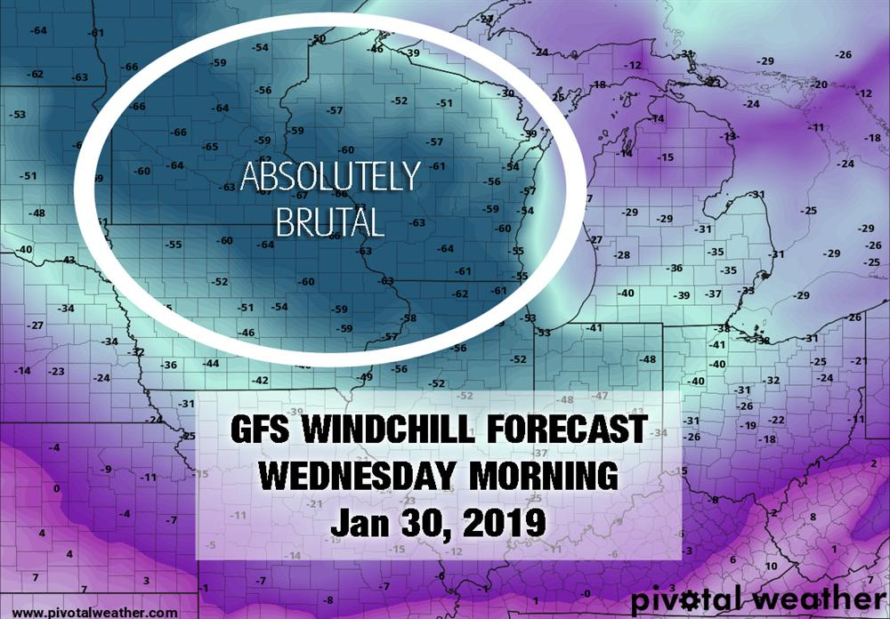Wind chills dip into the -50 and -60F range by Tuesday night/Wednesday morning. This is the latest GFS forecast. Models have been in exceptional agreement.