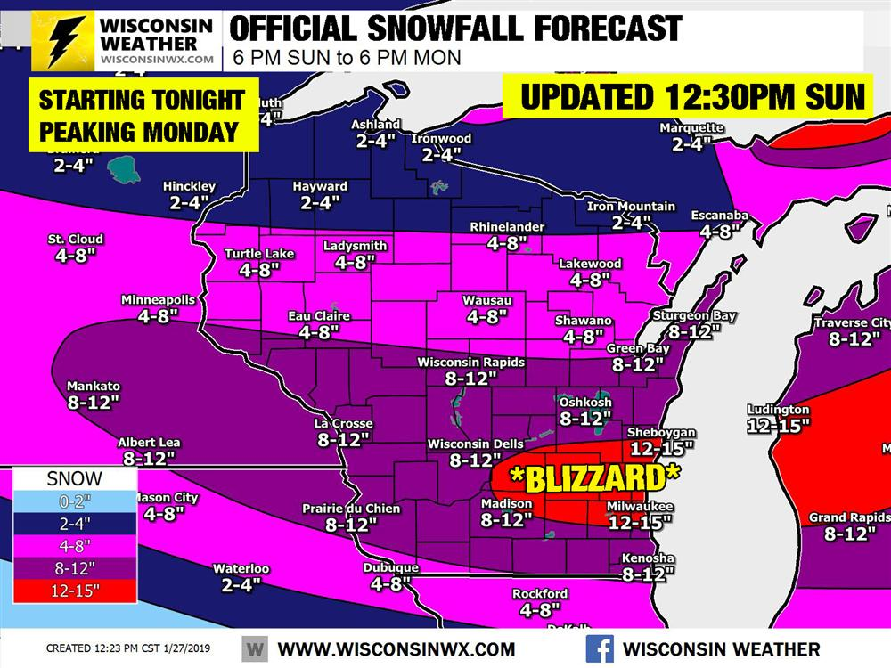 Final Official Snowfall Forecast for tonight through Monday. The blizzard zone will likely be bigger than what it this map might suggest