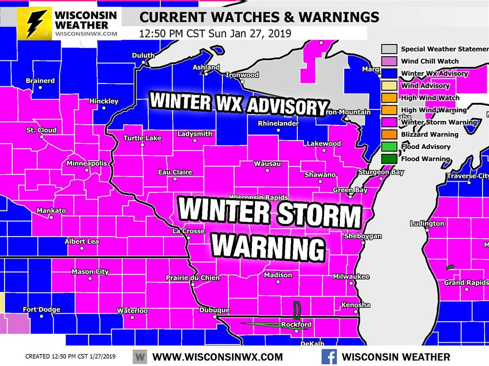 12:30PM SUN - Current warnings and watches. Warning expires at 6 PM Monday. Waiting to see if they issue a blizzard warning or not.
