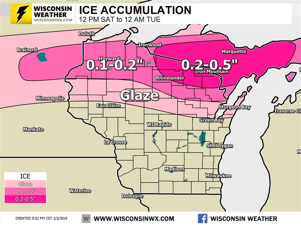 Freezing rain accumulations up to around 0.5