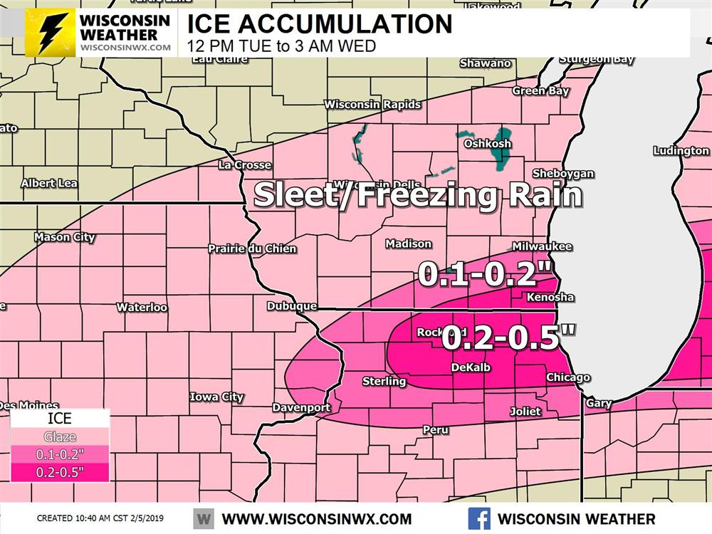 Very subtle shift north if the ice forecast for southeast Wisconsin. Be prepared for ice covered roads up to 0.5 inches.