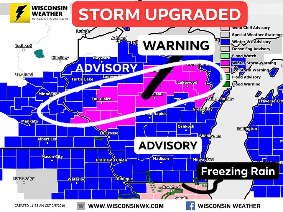 11:45AM - Updated warnings map. Probably need an upgrade in Pierce and Dunn counties. 4-8 in the warning zone. Future updates will address southern and central WI.