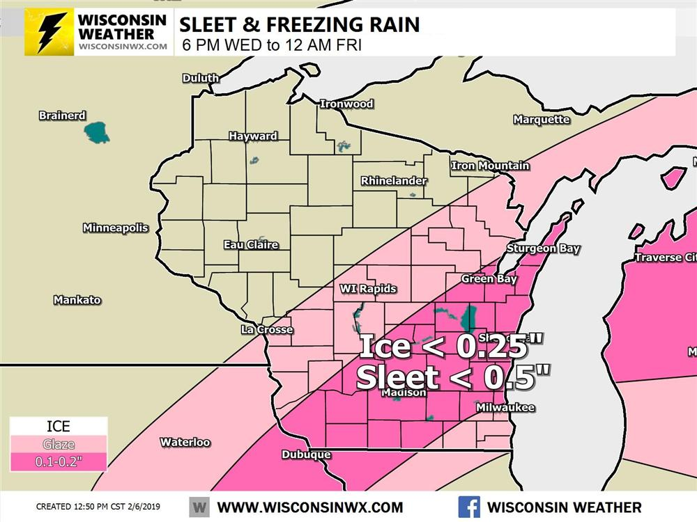 Freezing rain and sleet is expected Thursday across southern and eastern Wisconsin. Ice accumulations up to one quarter inch and sleet up to one half inch.