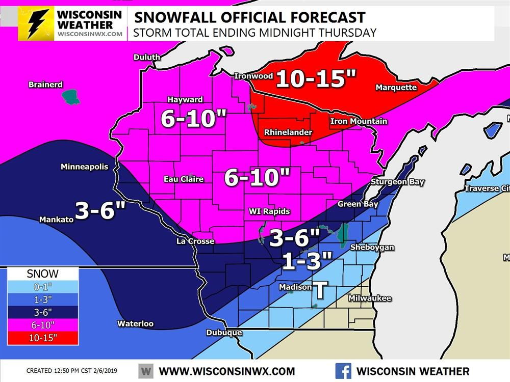 Heavy snow will fall with 10-15 inches across far north-central Wisconsin and upper Peninsula of Michigan by midnight Thursday.
