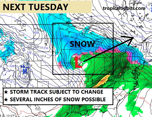 Winter storm likely next Tuesday.