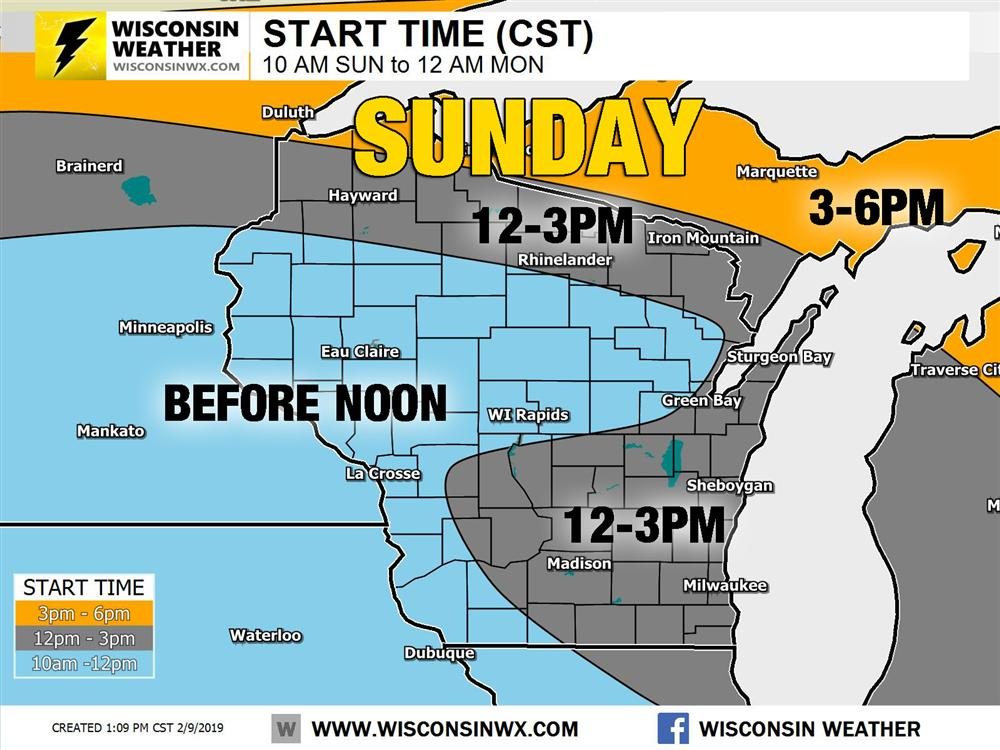Approximate starting times for Sunday snow.