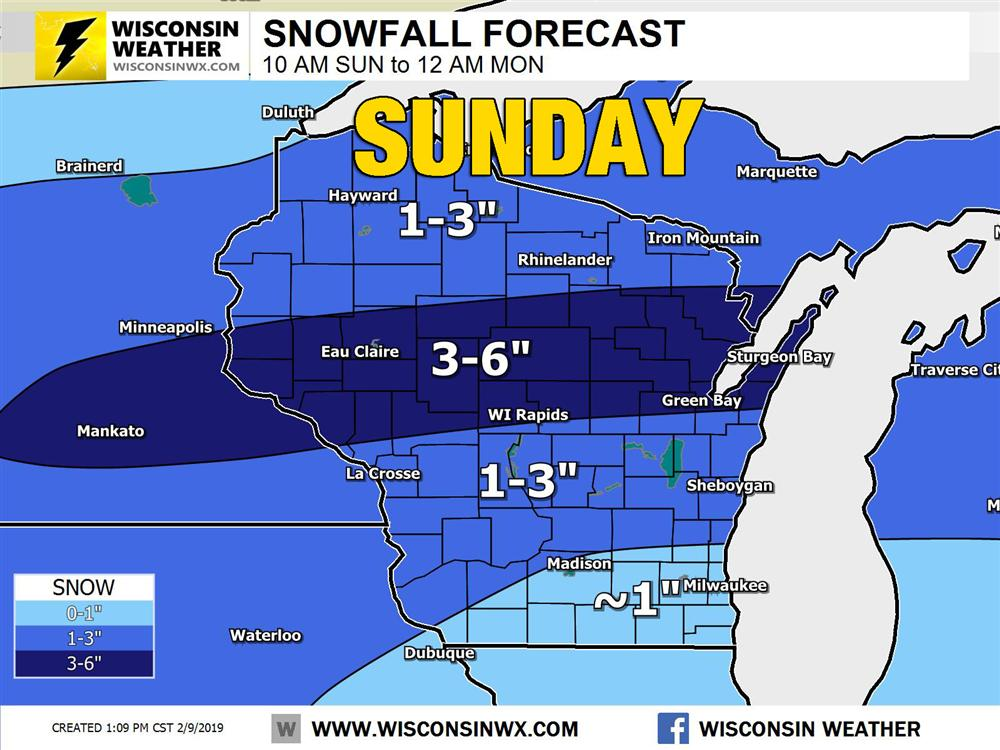 Light to moderate snow will fall across Wisconsin Sunday afternoon.