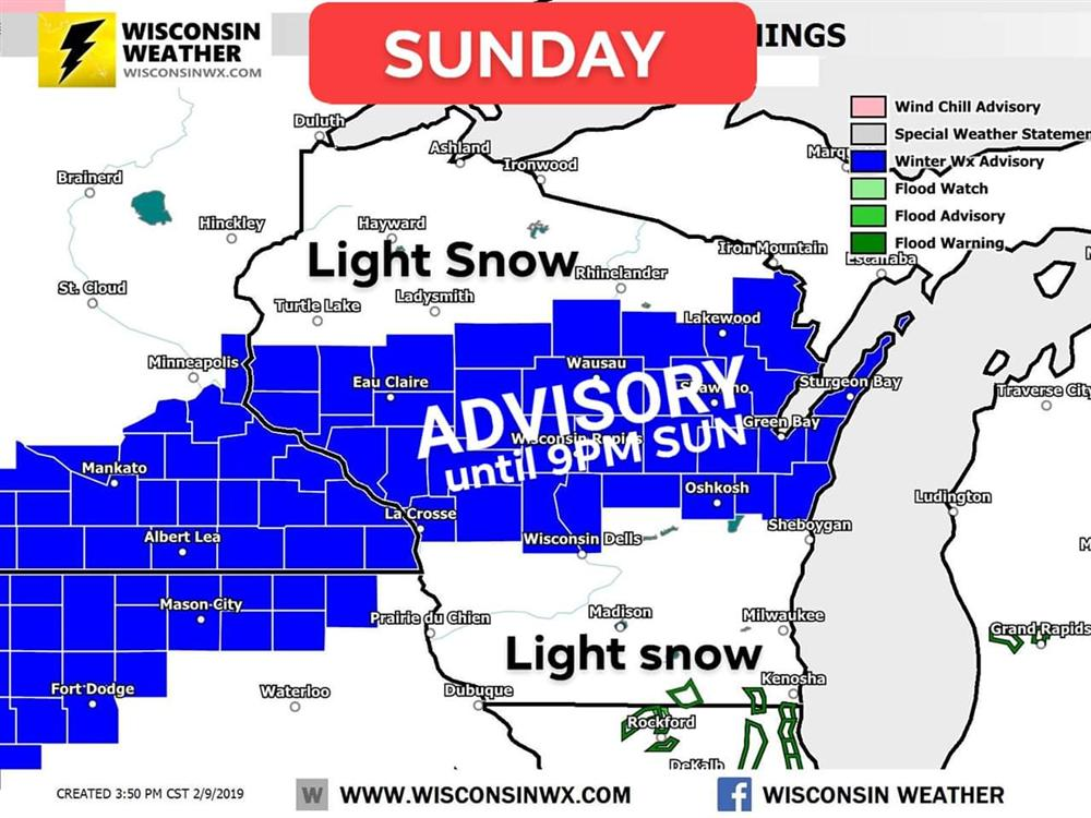 Winter Weather Advisory for central Wisconsin until 9PM Sunday.