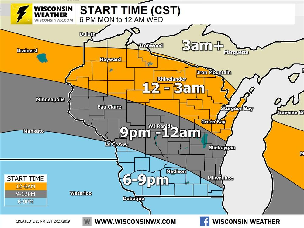 Approximate start times for the snow tonight and Tuesday AM.