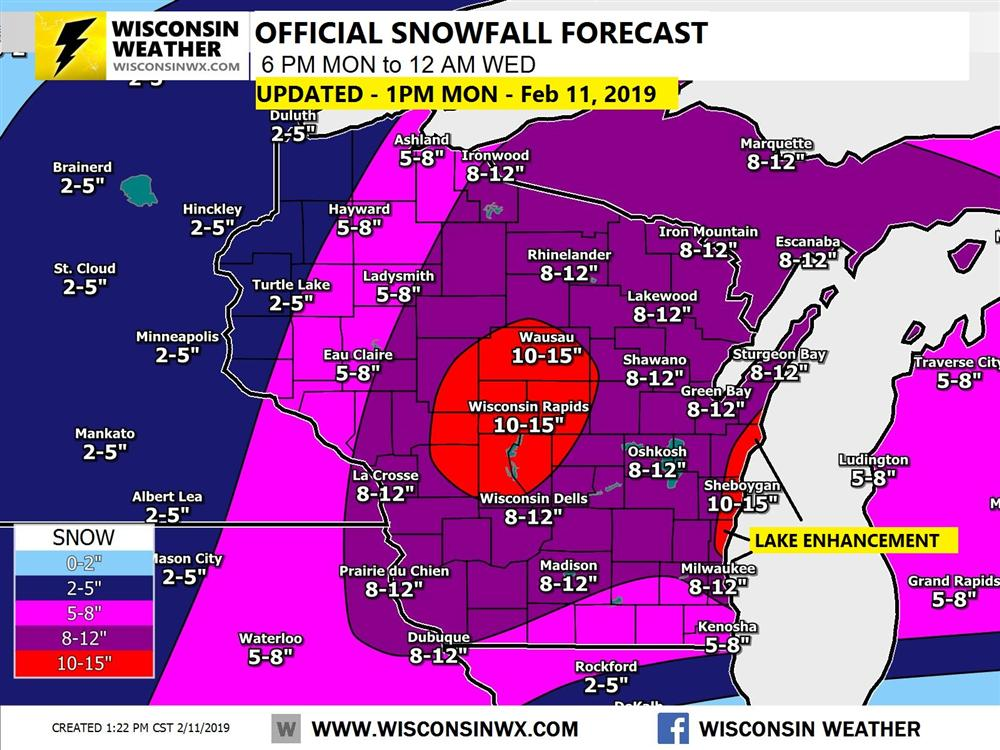 our official snowfall forecast for tonight through 12AM Wednesday.
