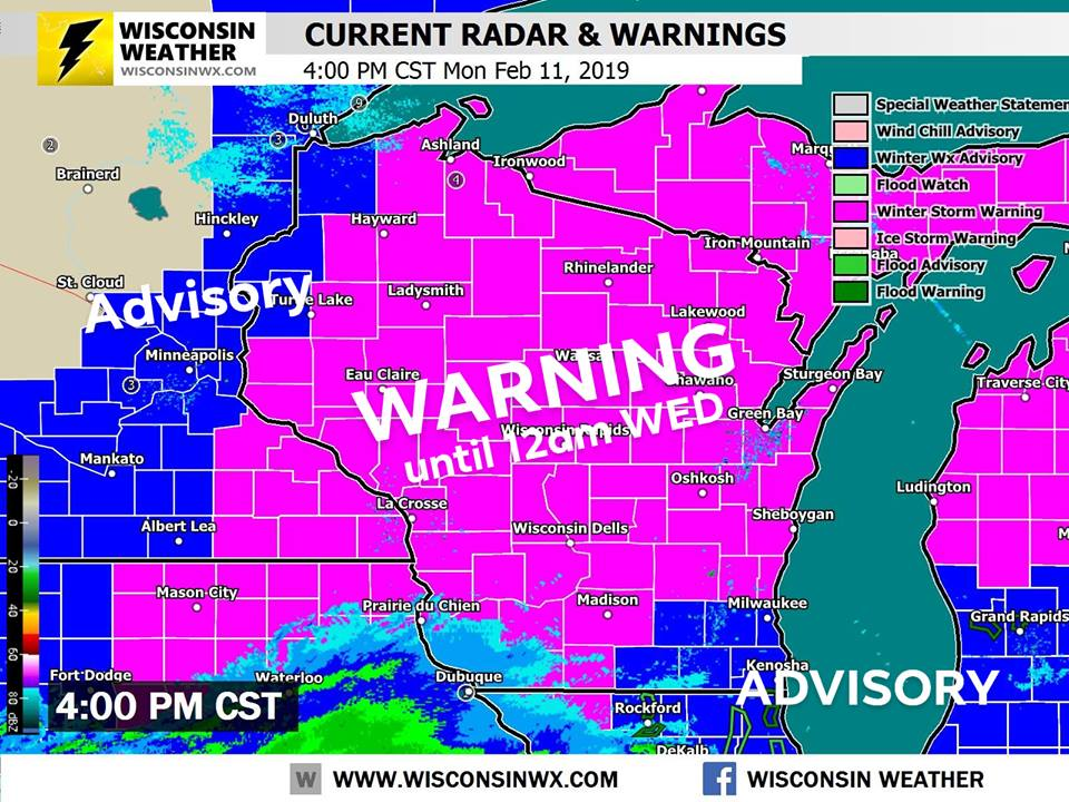 National Weather Service warnings and advisories as of 4:00PM Monday.