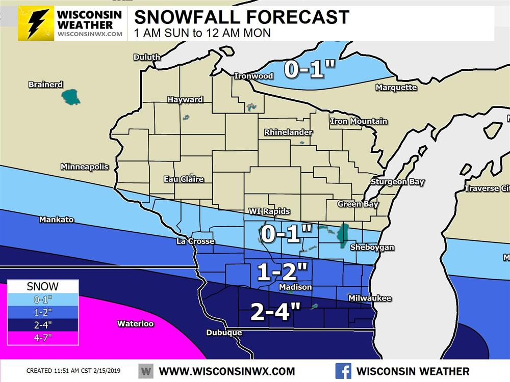 Snowfall forecast for by midnight Sunday. Dry air will eat most if not all snow across central Wisconsin.