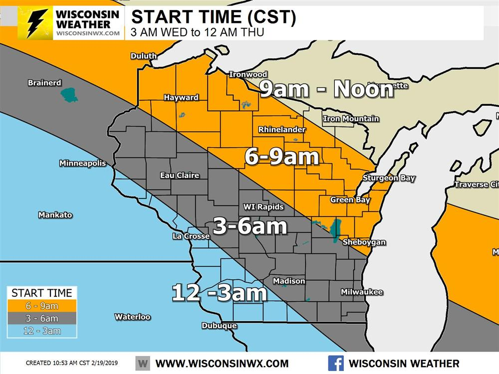 Start times for the Wednesday, Feb 20 2019 winter storm.
