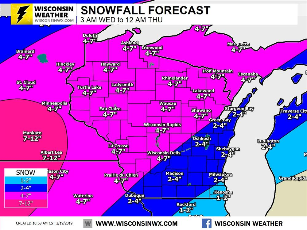 Snowfall prediction for Wednesday. There is a lot of magenta on this map. Still trying to find the right color scheme balance!