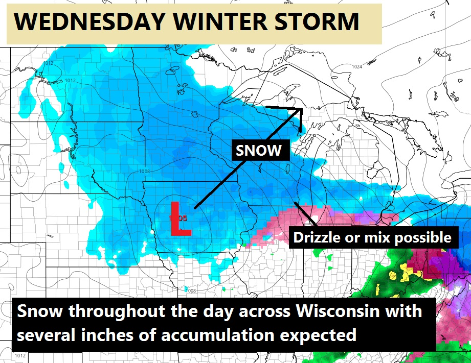 Winter storm to bring snow throughout the day on Wednesday. Several inches of accumulation expected.