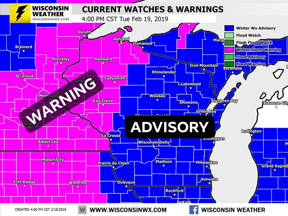 Warnings and advisories as of 4PM Tuesday.