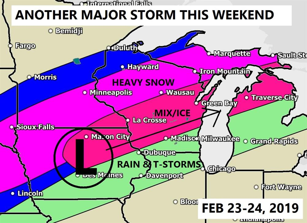 Major storm expected this weekend Feb 23-24, 2019