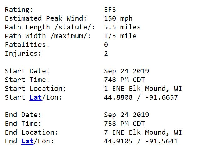 National Weather Service survey report from the Elk Mound EF-3 tornado Tuesday Night