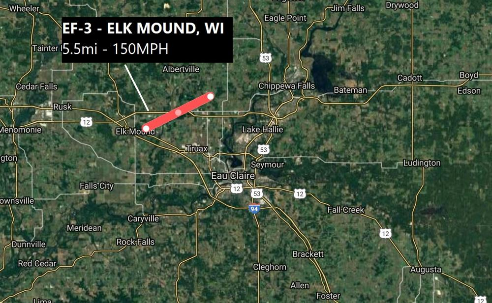 ELK Mound EF-3 on Tuesday Night