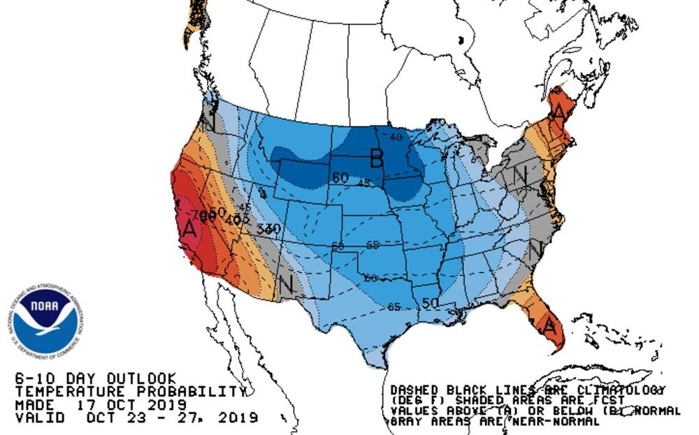 Climate Prediction center 8-14 day forecast shows colder than average temperatures likely in the long range.