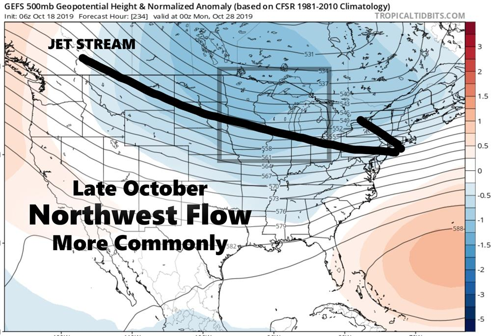 Northwest flow to bring colder temperatures.
