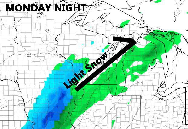 FRI PM GFS run showing light snow for southern WI Monday night.