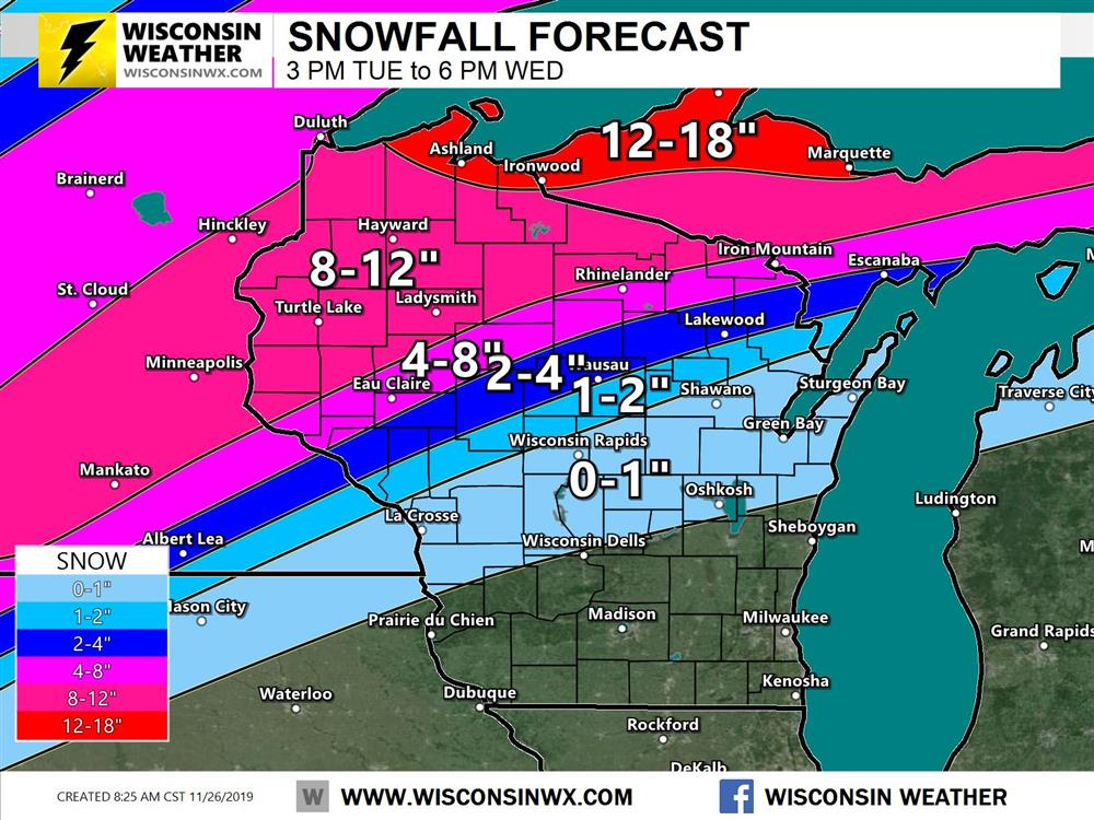 Official Snowfall forecast for tonight through Wednesday night.