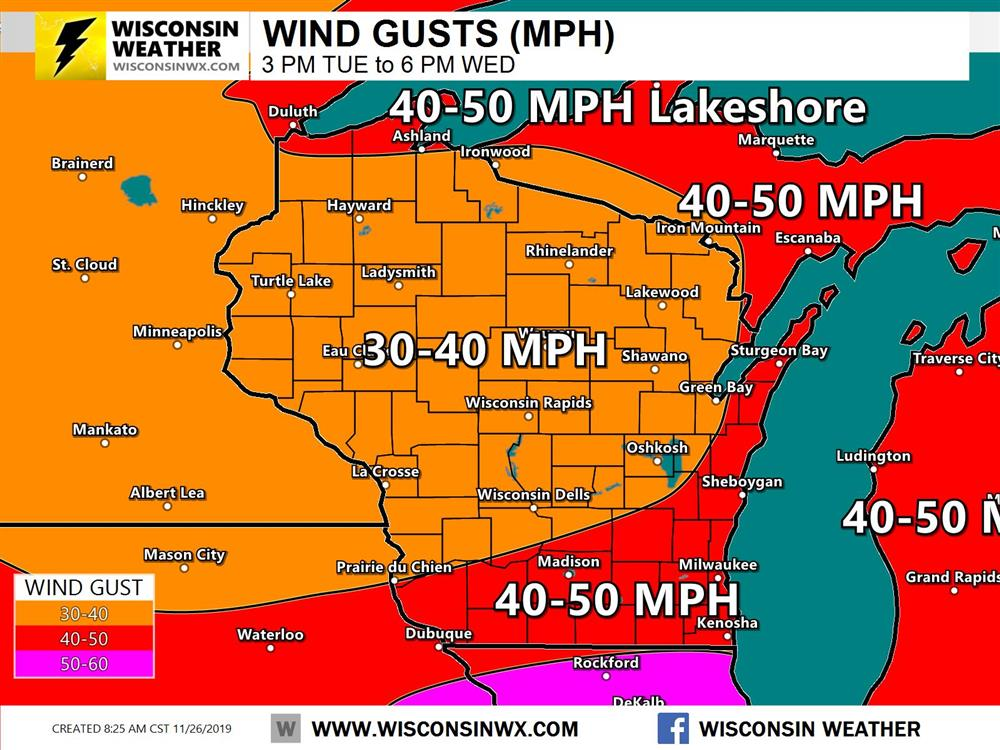 Wind gust forecast for Tuesday night through Wednesday evening. Wisconsin to see strongest winds Wednesday during the day and evening.