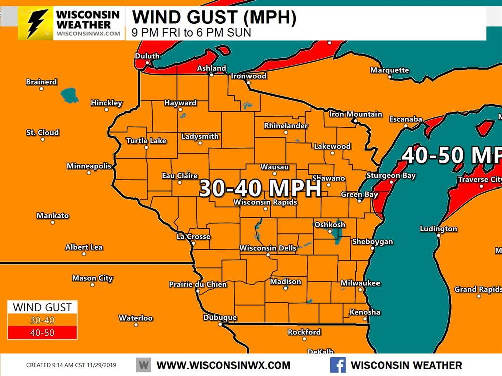 Wind gusts of 30-40 MPH, changing from easterly to northwestern of the course of the weekend.Probably not as strong as earlier this week.