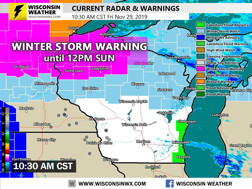 The National Weather Service has issued a winter storm warning and watch for northern Wisconsin. See our active warnings page for more information.