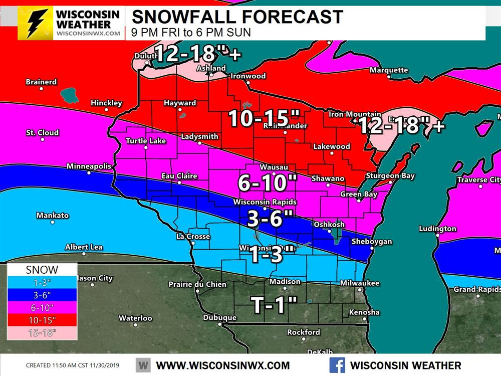 Snowfall forecast (storm total) showing significant snow amounts for portions of northern Wisconsin tonight/Sunday.