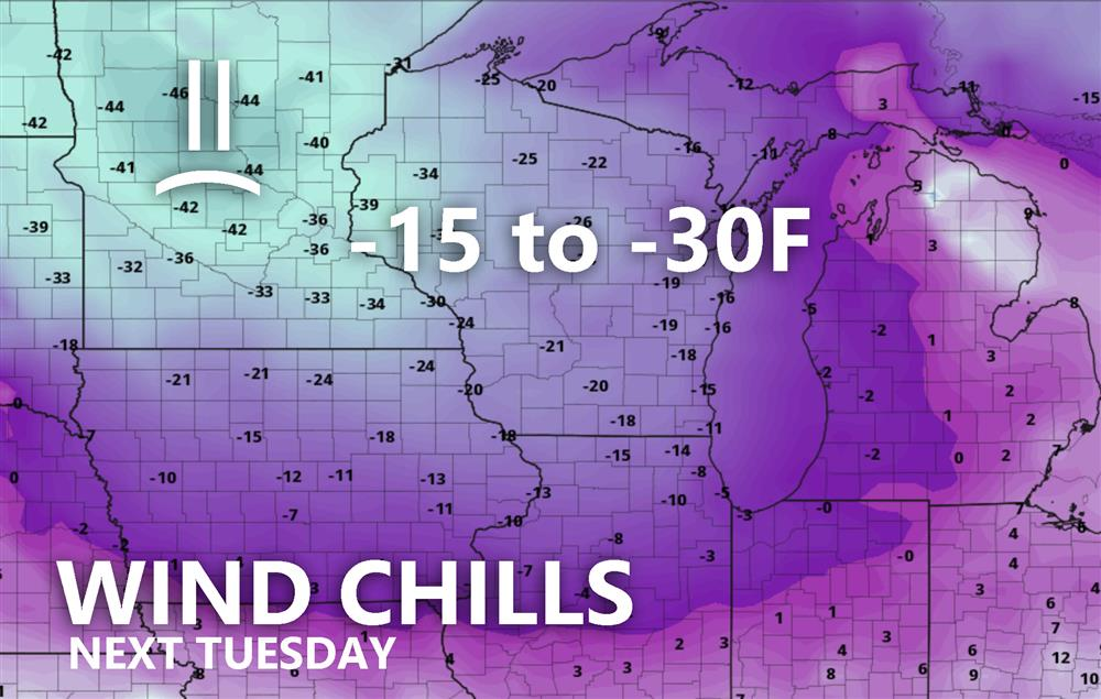 Wind chill forecast for Tuesday night next week which looks like the coldest of the bunch right now. Graphic from pivotalweather.com