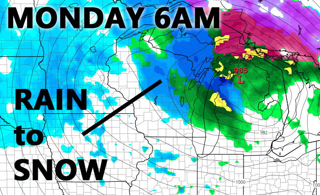 Monday 6AM rain transitions to snow, heavy for some