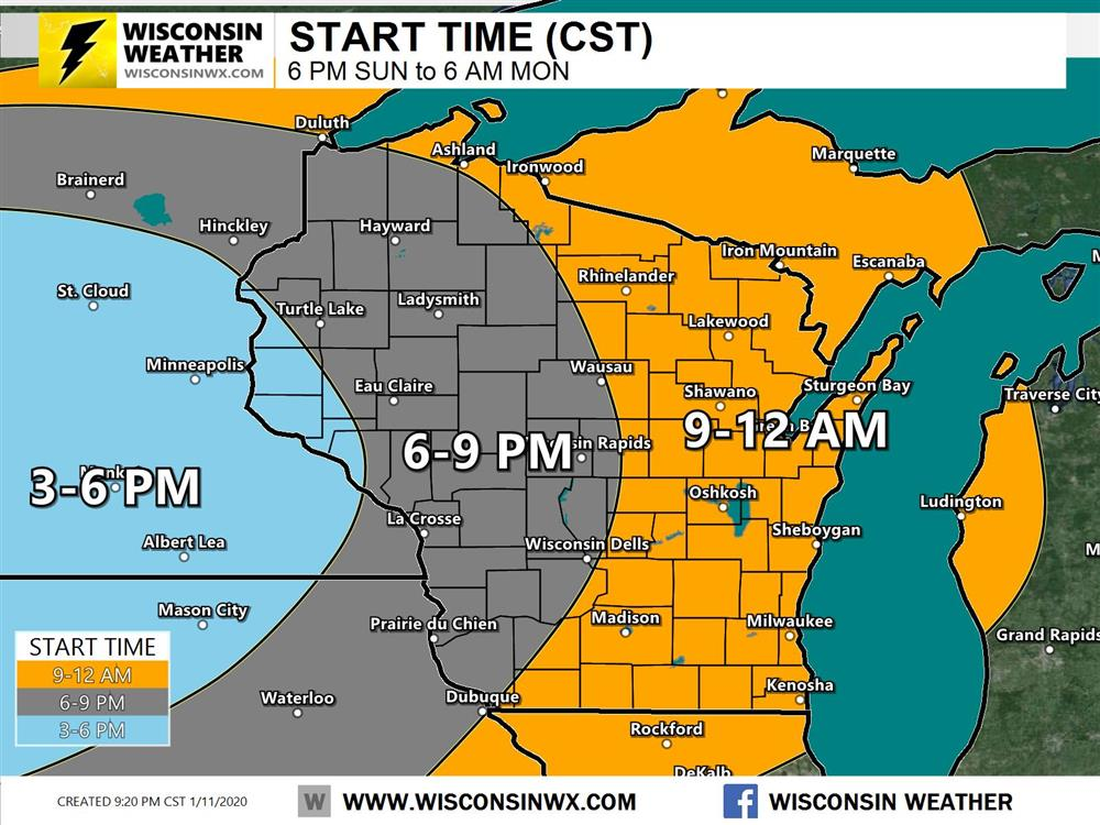 Snow start times around or just after 9PM on Sunday in eastern Wisconsin.