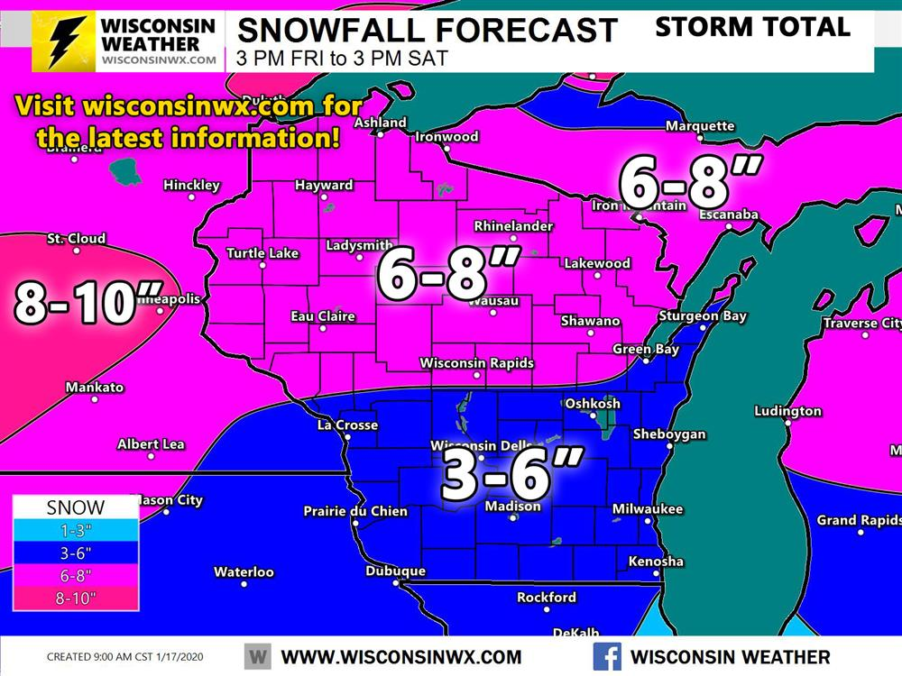 Official snowfall forecast for tonight through Saturday snowfall.