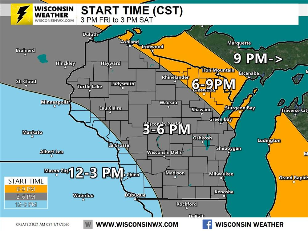 Snow start times across Wisconsin and upper Michigan. Snow begins for most during the afternoon hours and may be moderate to heavy at onset.