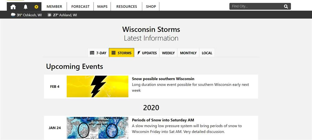Storm events list page which is a commonly entry point to our website.