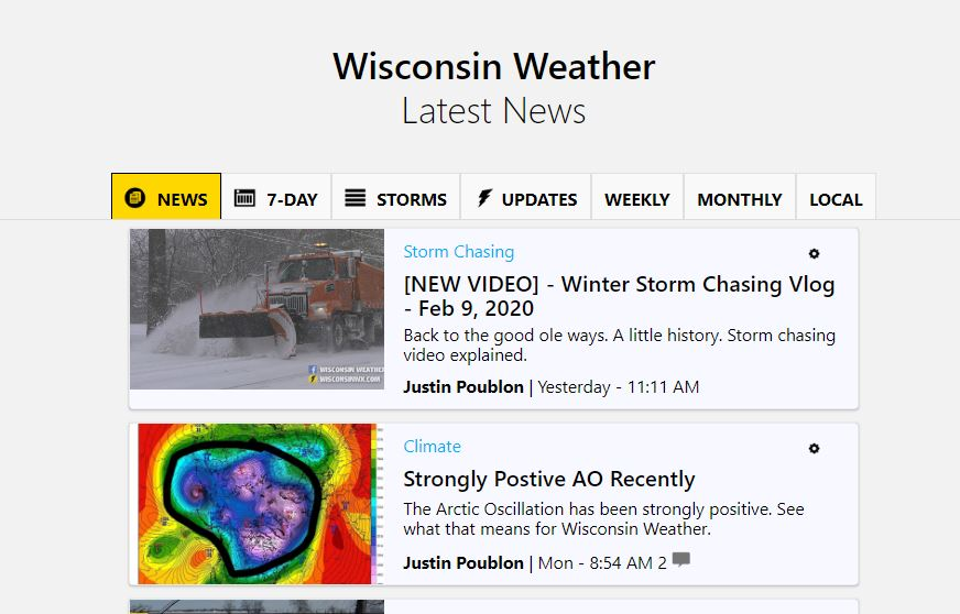 The News page found via the forecast navigation tree