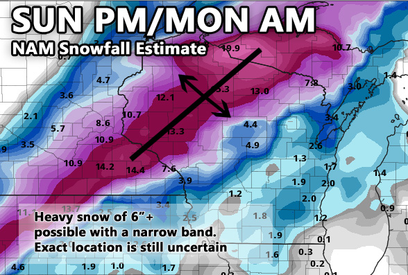 12Z FRI NAM snowfall estimate. One of several different predictions. Please see the storms section for more details.