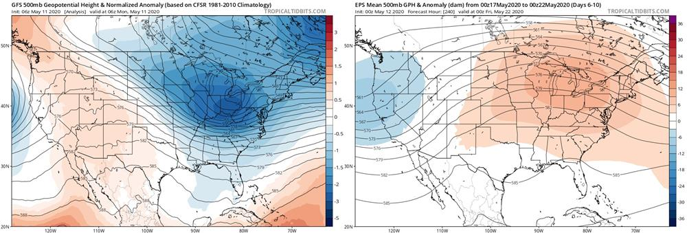 500mb anomlies maps from early May vs. late May. The complete opposite pattern may develop at times with summer-like warmth finally returning.