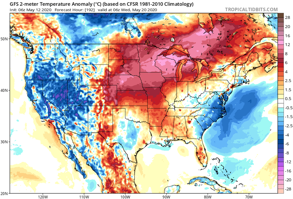 GFS temperature anomaly forecast for a day in the near future. This pattern could bring well above average temperatures at times.