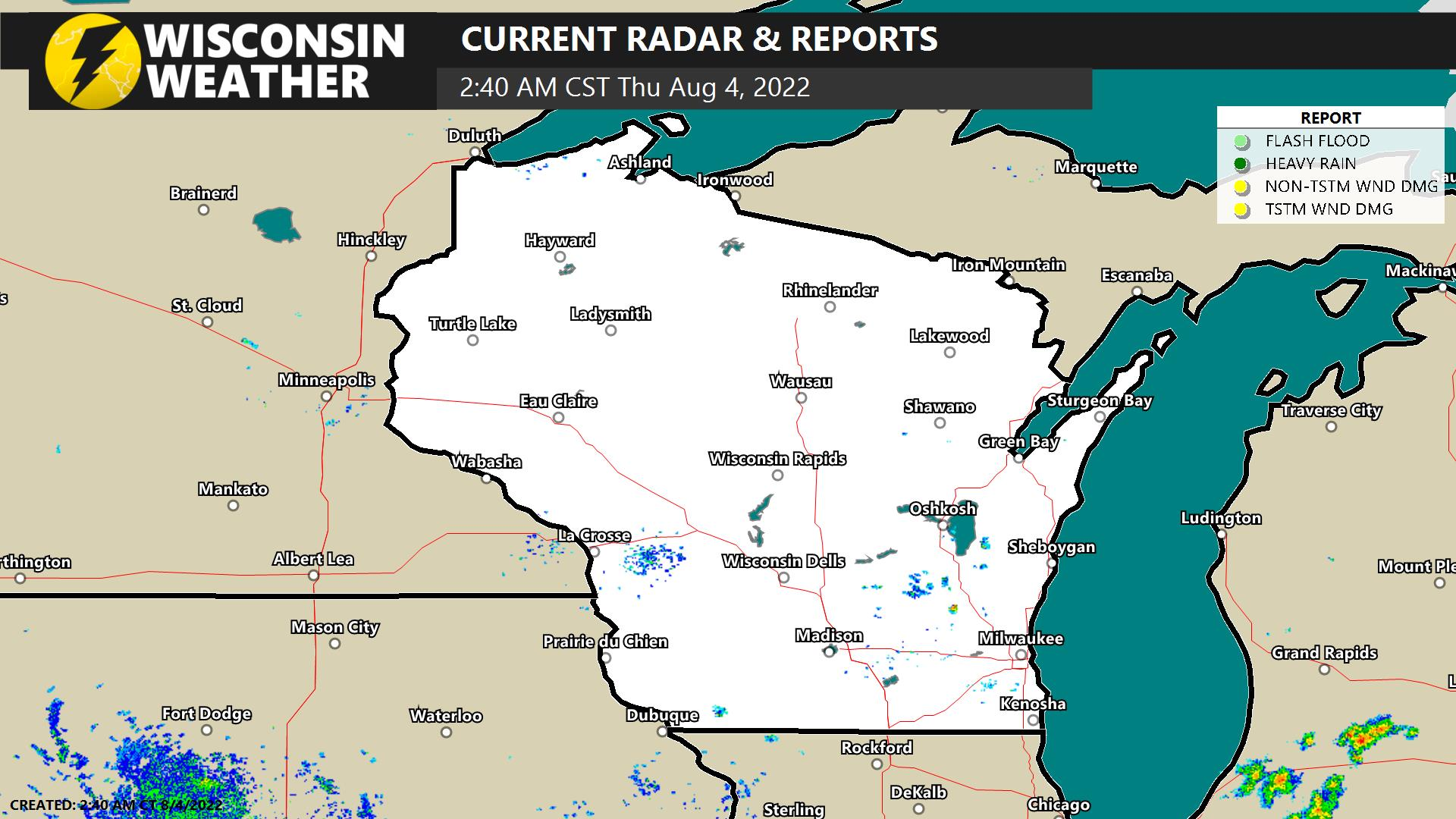 Current Wisconsin radar and storm reports